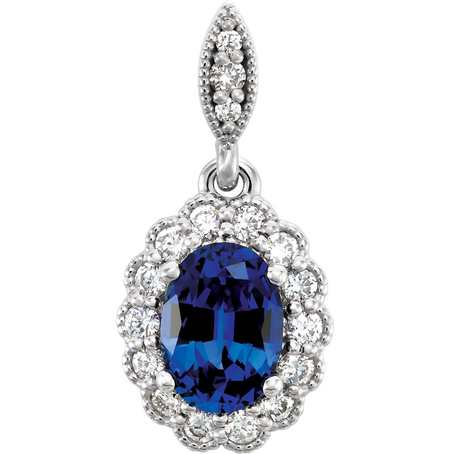 Great Deal in 14 Karat White Gold Genuine Chatham Created Created Blue Sapphire and 0.20 Carat Total Weight Diamond Pendant
