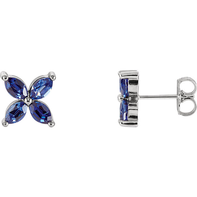 Great Gift in 14 Karat White Gold Genuine Chatham Created Created Blue Sapphire Earrings