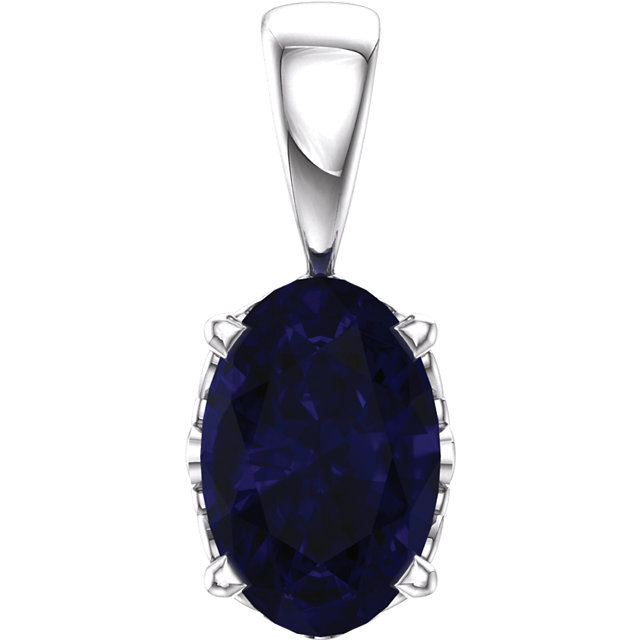 Perfect Gift Idea in 14 Karat White Gold Genuine Chatham Created Created Blue Sapphire Pendant