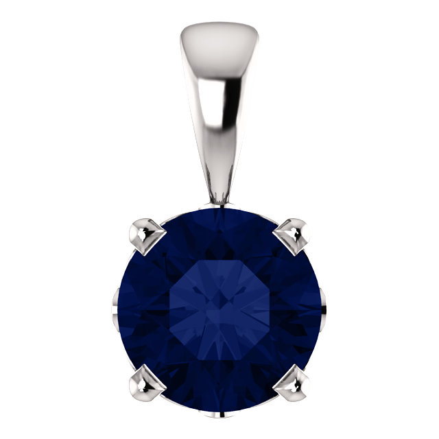 Exquisite 14 Karat White Gold Chatham Created Round Genuine Blue Sapphire Scroll Setting Pendant