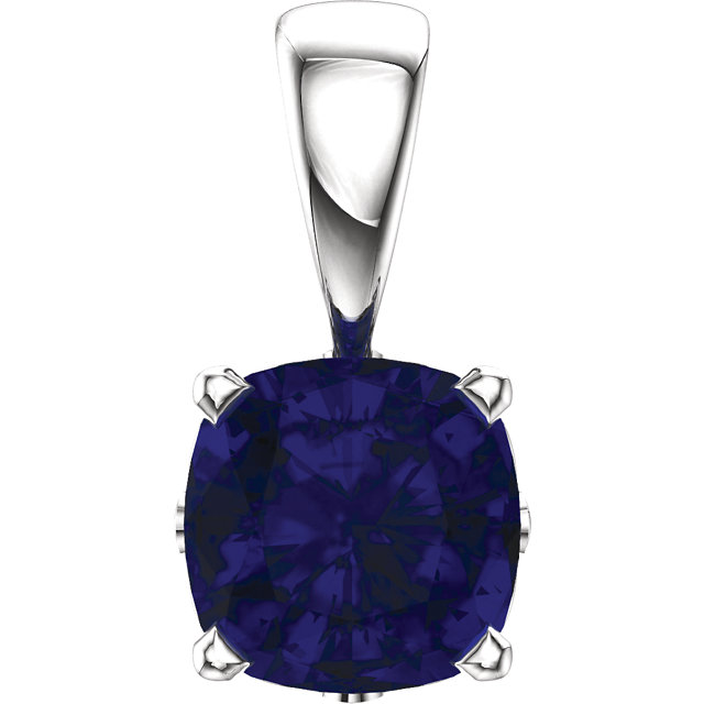 Contemporary 14 Karat White Gold Genuine Chatham Created Created Blue Sapphire Pendant