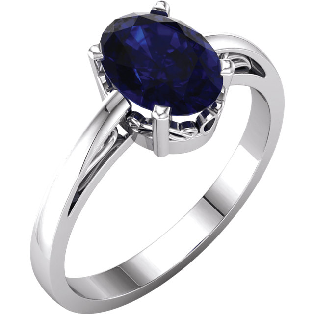 14 Karat White Gold Genuine Chatham Blue Sapphire Ring