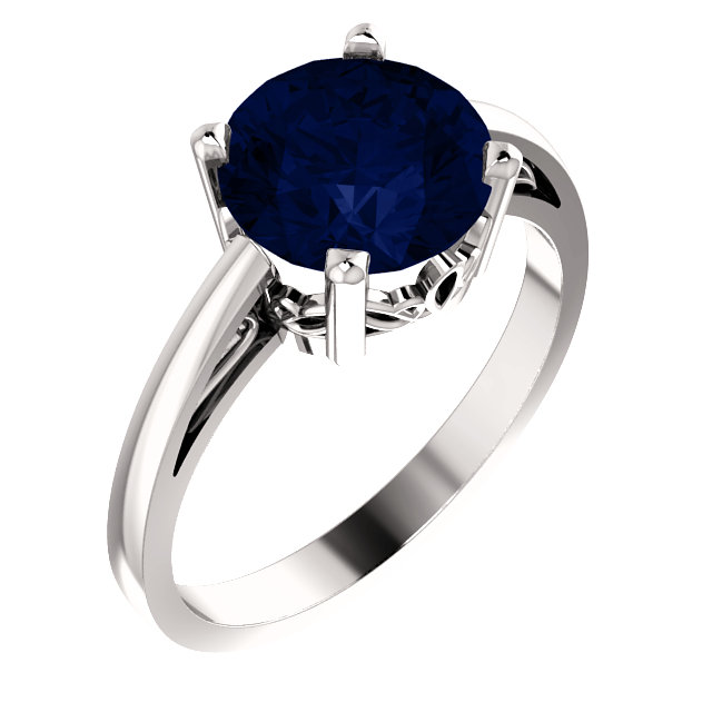 Genuine Chatham Created Sapphire Ring in 14 Karat White Gold Chatham Created Created Genuine Sapphire Ring