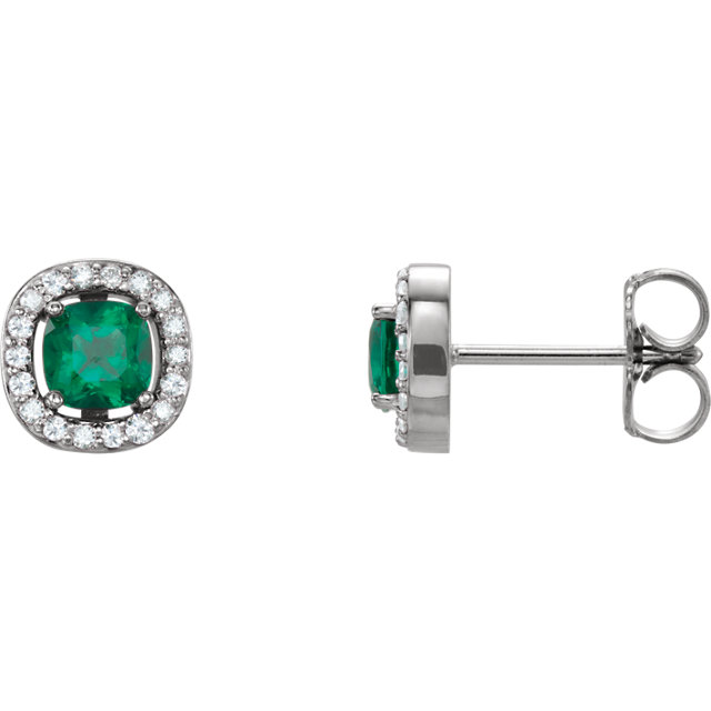 Fine Quality 14 Karat White Gold Genuine Chatham Created Emerald & .08 Carat Total Weight Diamond Earrings