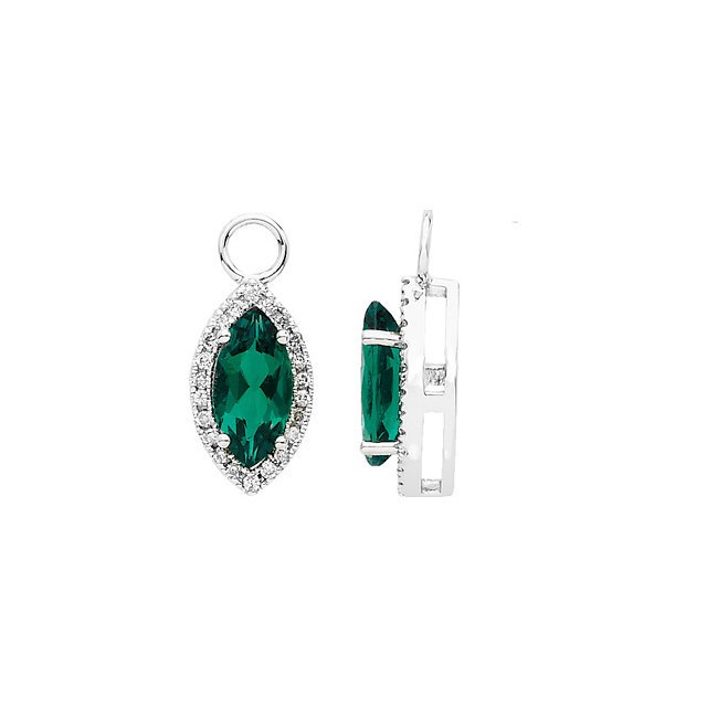 14KT White Gold Chatham Created Emerald & 1/4 Carat Total Weight Diamond Earring Dangles