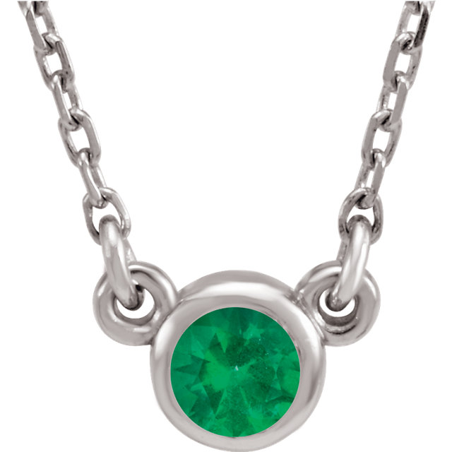 Easy Gift in 14 Karat White Gold Genuine Chatham Created Created Emerald 16