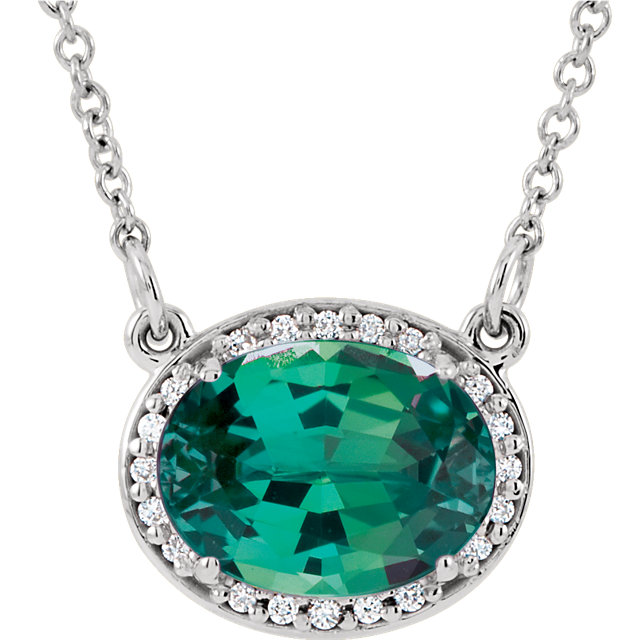Great Gift in 14 Karat White Gold Genuine Chatham Created Created Emerald & .05 Carat Total Weight Diamond 16.5