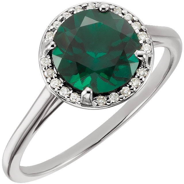 14 Karat White Gold Genuine Chatham Emerald & .05Carat Diamond Ring