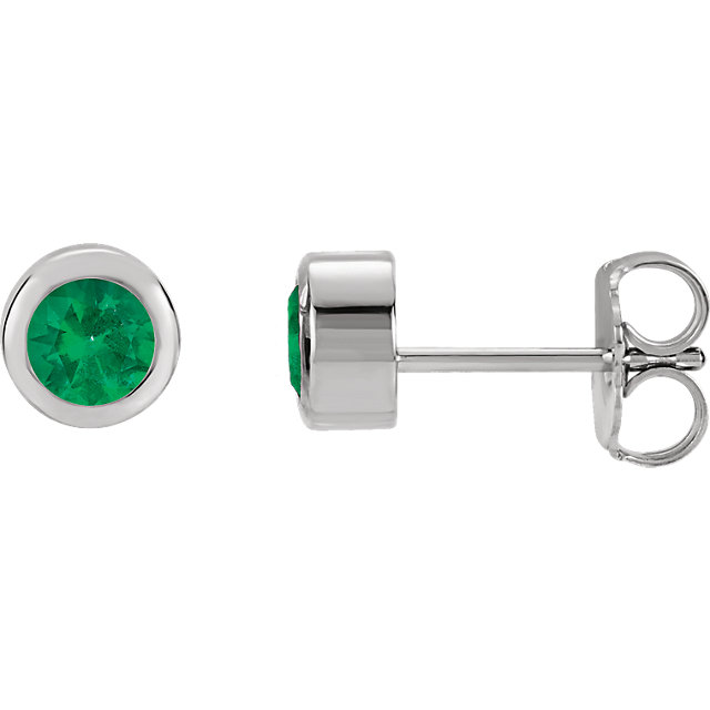 Jewelry Find 14 KT White Gold Genuine Chatham Created Created Emerald Earrings
