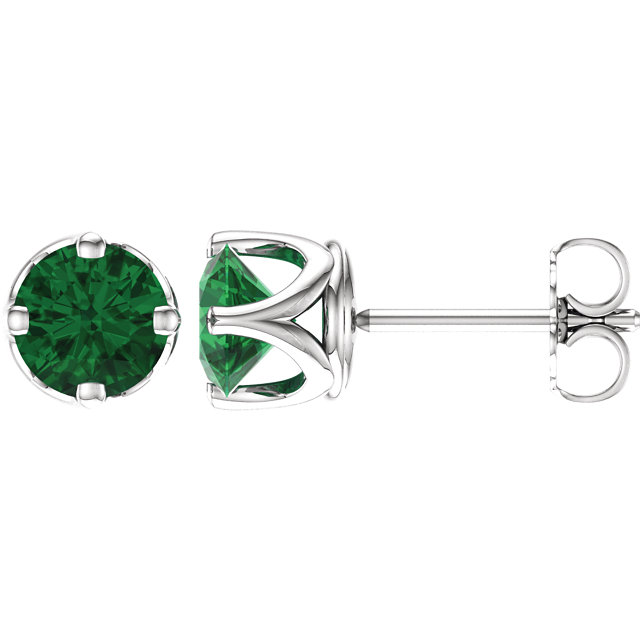 Jewelry in 14 KT White Gold Genuine Chatham Created Created Emerald Earrings
