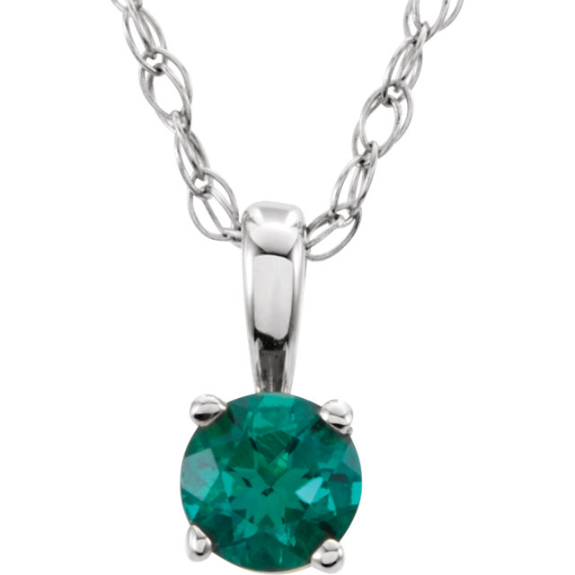 14 KT White Gold Genuine Chatham Created Lab-Created Emerald
