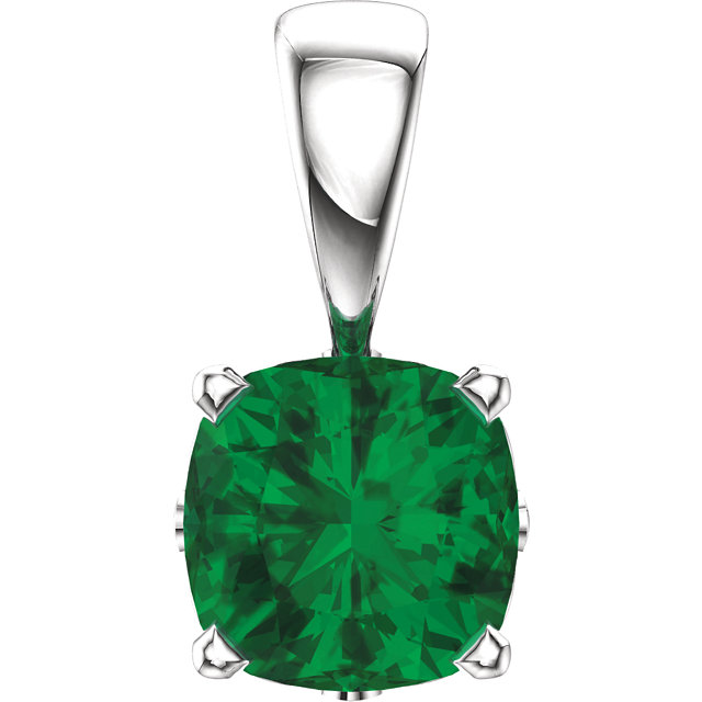 Great Buy in 14 KT White Gold Genuine Chatham Created Created  Emerald Pendant
