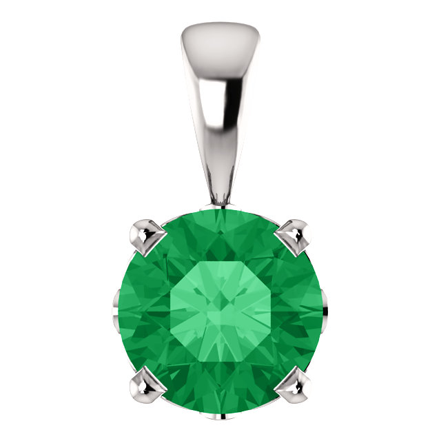Lovely 14 Karat White Gold Chatham Created Emerald Scroll Setting Pendant