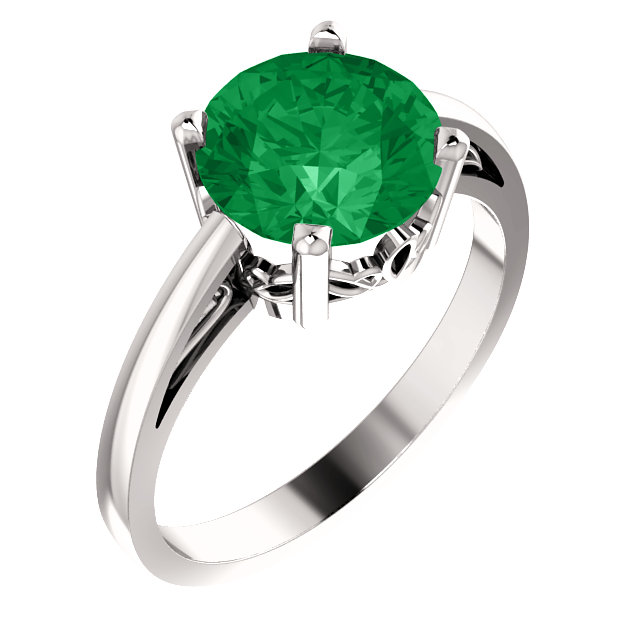 Easy Gift in 14 Karat White Gold Genuine Chatham Created Created Emerald Ring