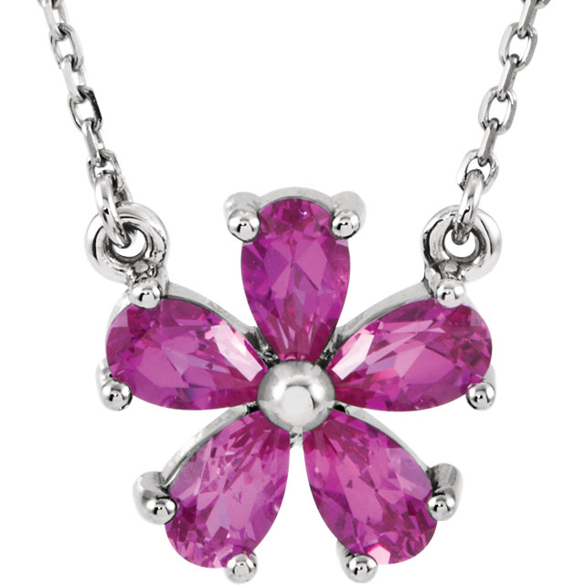 Perfect Gift Idea in 14 Karat White Gold Genuine Chatham Created Created Pink Sapphire 16