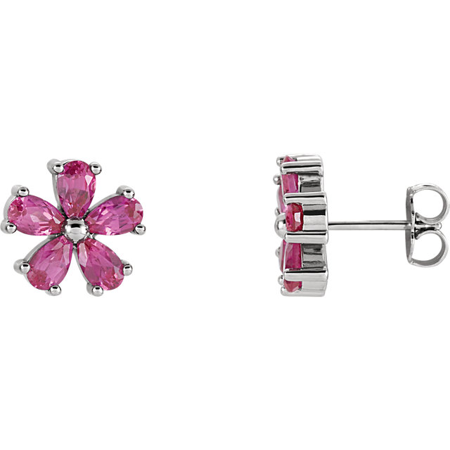 Great Deal in 14 Karat White Gold Genuine Chatham Created Created Pink Sapphire Earrings