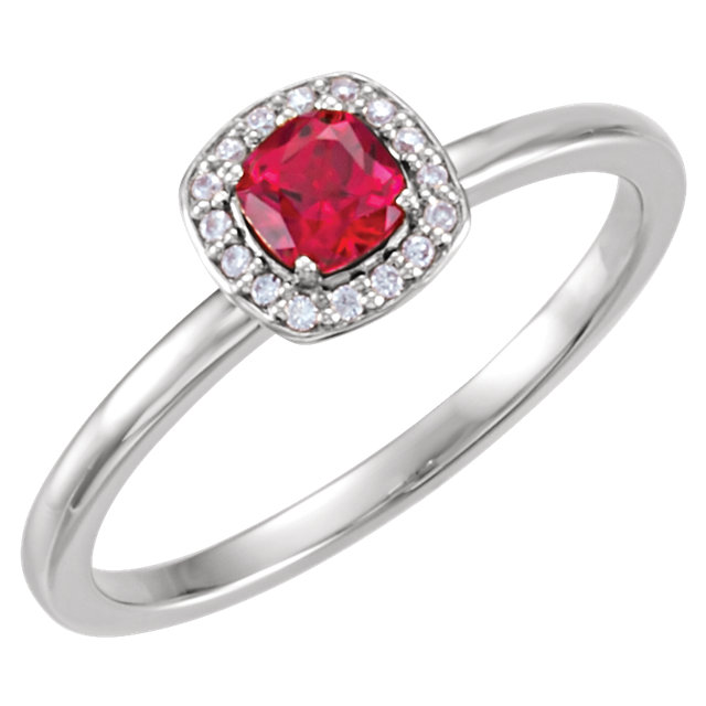 Wonderful 14 Karat White Gold Genuine Chatham Created Created Ruby & .04 Carat Total Weight Diamond Halo-Style Ring