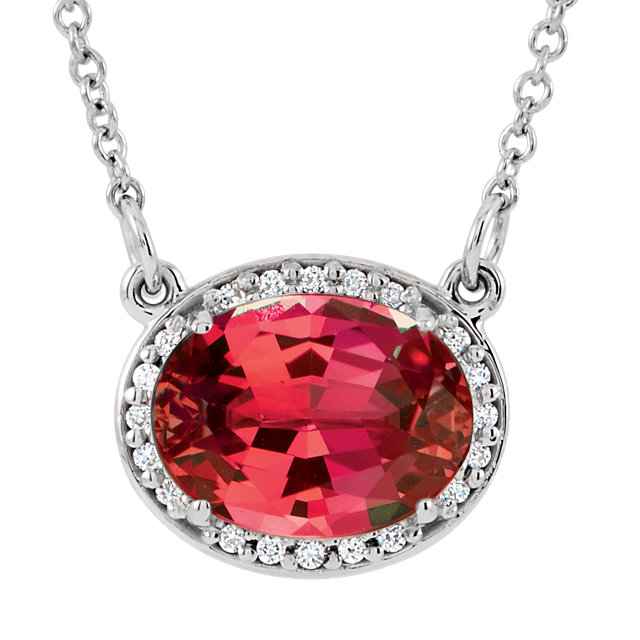 Easy Gift in 14 Karat White Gold Genuine Chatham Created Created Ruby & .05 Carat Total Weight Diamond 16.5