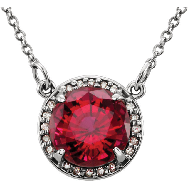 Fine Quality 14 Karat White Gold 8mm Round Genuine Chatham Created Created Ruby & .05 Carat Total Weight Diamond 16