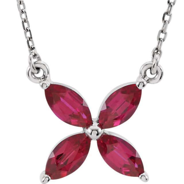 Stunning 14 Karat White Gold Genuine Chatham Created Created Ruby 16