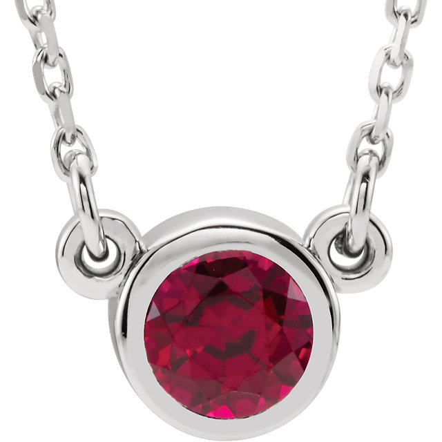 Chic 14 Karat White Gold Genuine Chatham Created Created Ruby 16