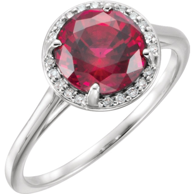Great Buy in 14 Karat White Gold Genuine Chatham Created Created Ruby & .05Carat Total Weight Diamond Ring