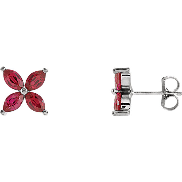 Great Deal in 14 Karat White Gold Genuine Chatham Created Created Ruby Earrings