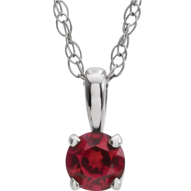 Shop 14 KT White Gold Genuine Chatham Created Lab-Created Ruby