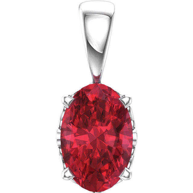 Appealing Jewelry in 14 Karat White Gold Genuine Chatham Created Created Ruby Pendant