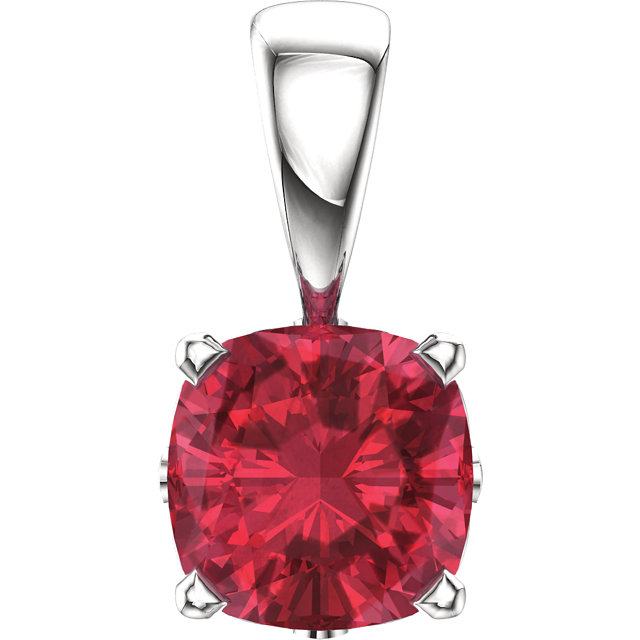 Jewelry Find 14 KT White Gold Genuine Chatham Created Created  Ruby Pendant