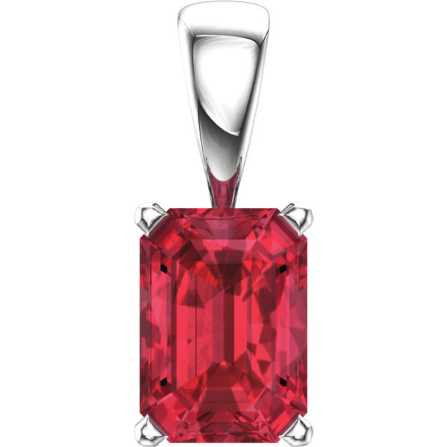 Genuine  14 KT White Gold Genuine Chatham Created Created Ruby Pendant