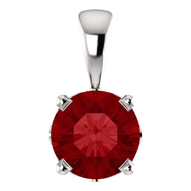 Must Have 14 KT White Gold Chatham Created Ruby Scroll Setting Pendant
