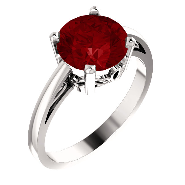 Chatham Created Ruby Ring in 14 Karat White Gold Chatham Created Created Ruby Ring