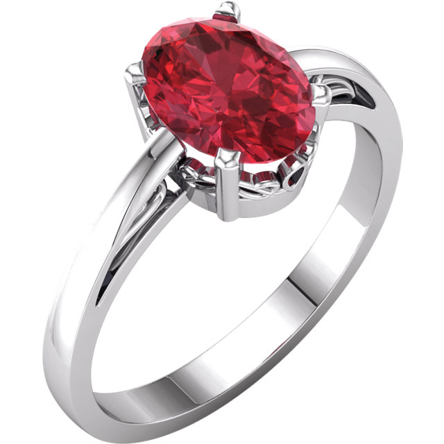 Must See 14 Karat White Gold Genuine Chatham Created Created Ruby Ring