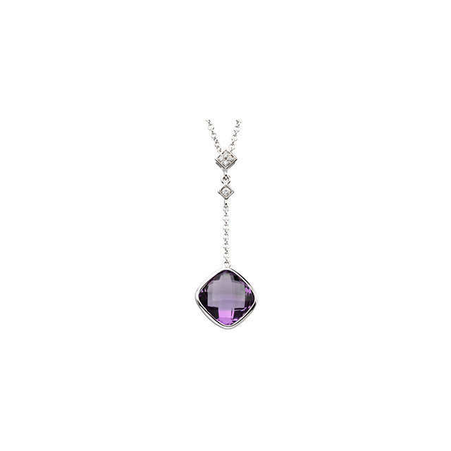 Perfect Jewelry Gift 14 Karat White Gold Checkerboard Amethyst & .04 Carat Total Weight Diamond 18