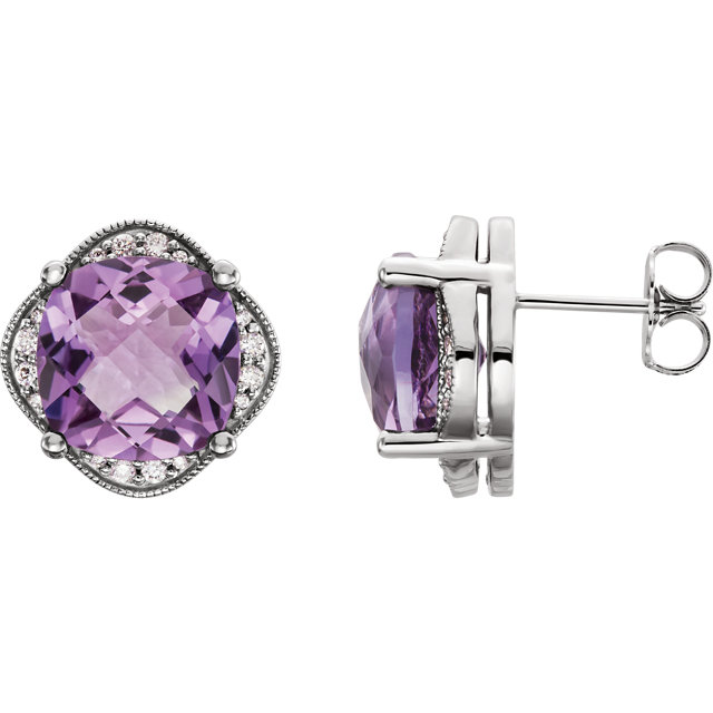 Appealing Jewelry in 14 Karat White Gold Checkerboard Amethyst & 0.20 Carat Total Weight Diamond Earrings