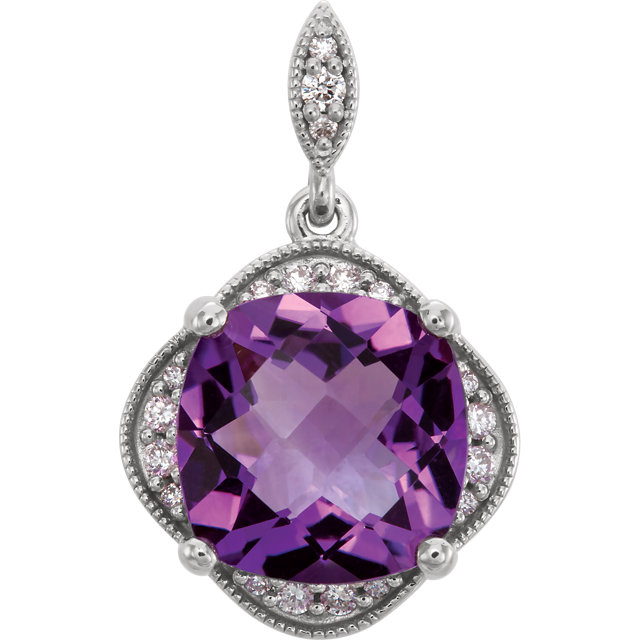 Surprise Her with  14 Karat White Gold Checkerboard Amethyst & Diamond Pendant