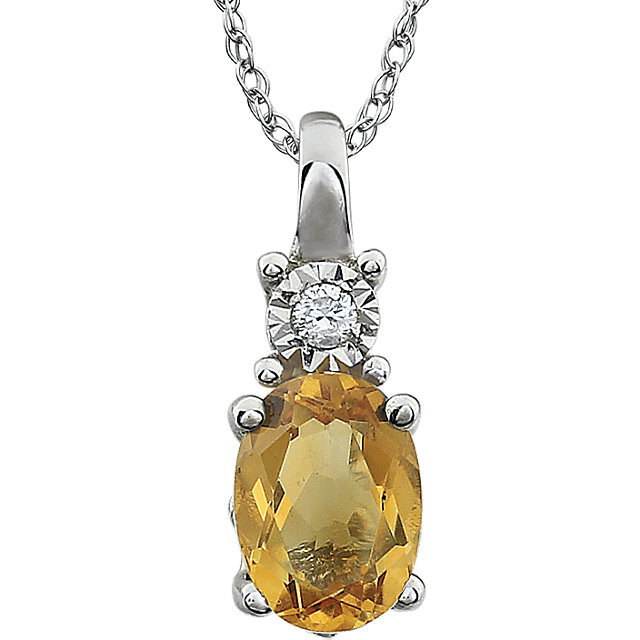 Golden Citrine Necklace in 14 Karat White Gold Citrine & .02 Carat Diamond 18