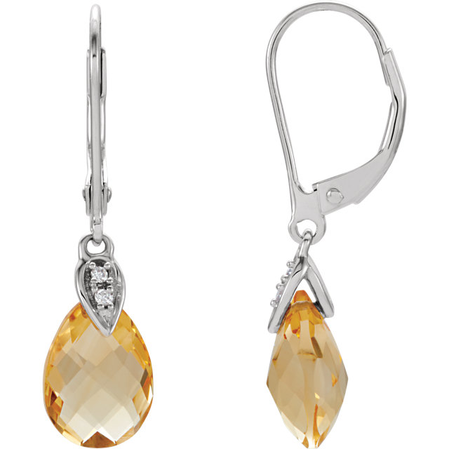 Stunning 14 Karat White Gold Citrine & .025 Carat Total Weight Diamond Earrings