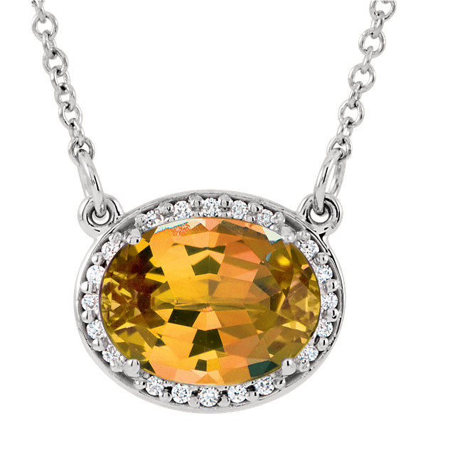 Genuine 14 Karat White Gold Citrine & .05 Carat Diamond 16.5