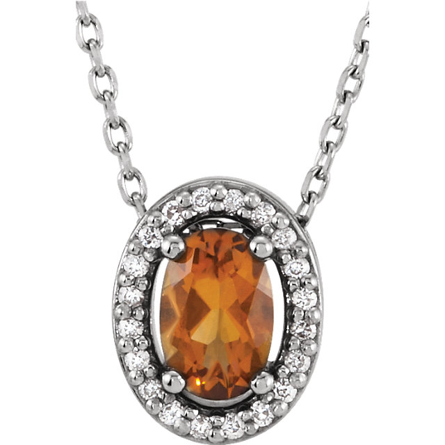 Fine Quality 14 Karat White Gold Citrine & .05 Carat Total Weight Diamond 16