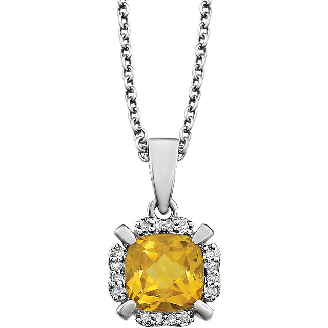 14 Karat White Gold Citrine & .05 Carat Diamond 18