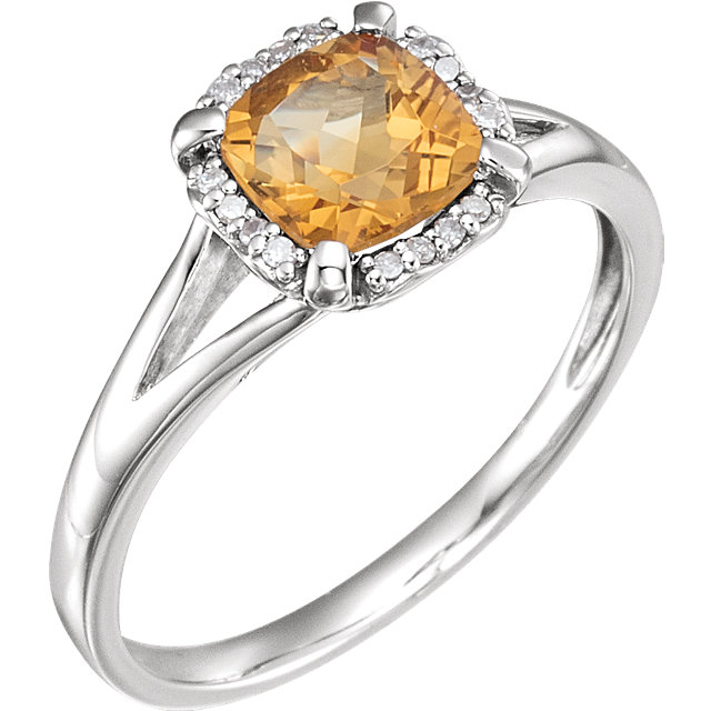 Contemporary 14 Karat White Gold Citrine & .05 Carat Total Weight Diamond Ring