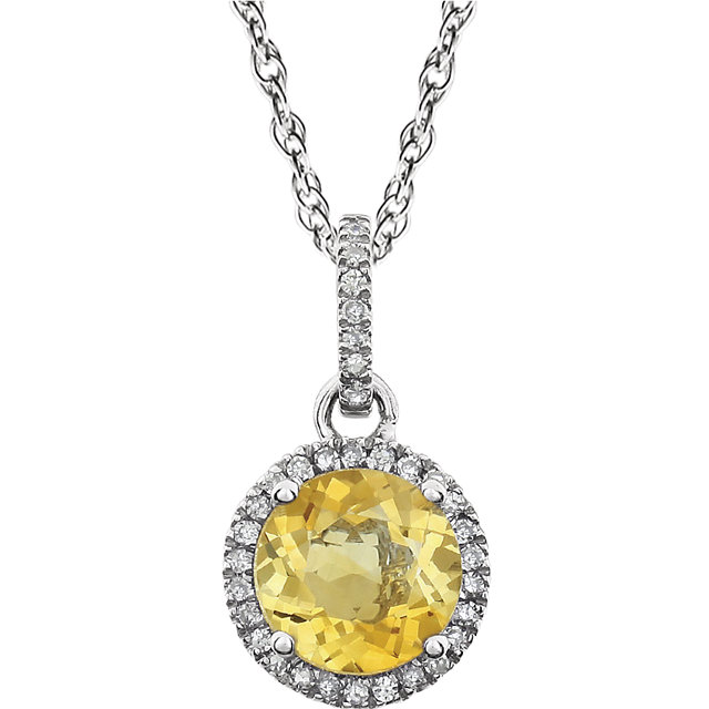 14 Karat White Gold Citrine & 0.10 Carat Diamond 18