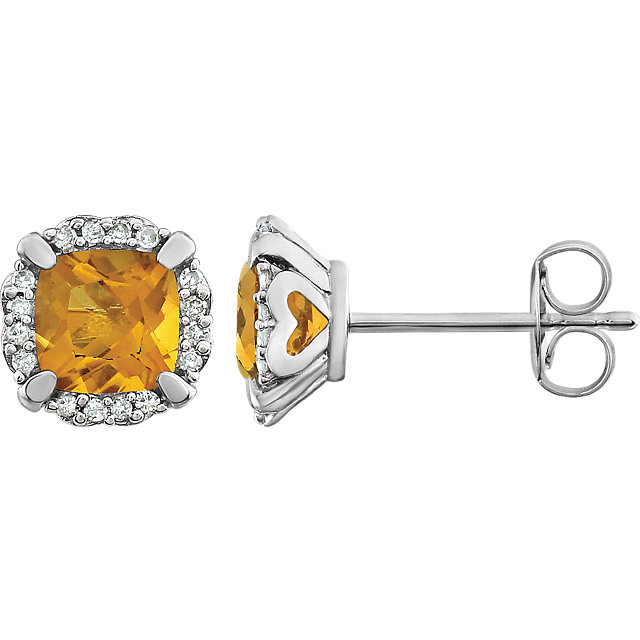 Great Buy in 14 Karat White Gold Citrine & 0.10 Carat Total Weight Diamond Earrings
