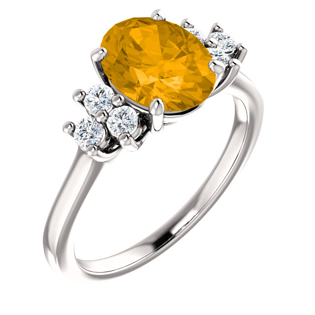 Surprise Her with  14 Karat White Gold Citrine & 0.25 Carat Total Weight Diamond Ring