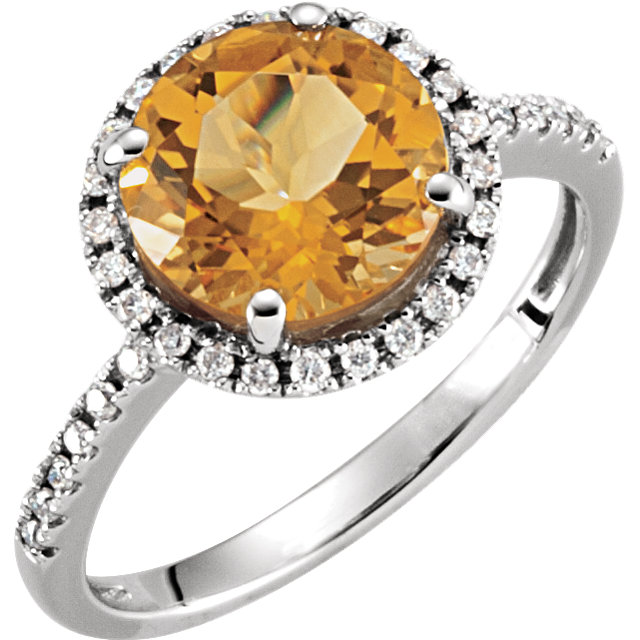 Appealing Jewelry in 14 Karat White Gold Citrine & 0.17 Carat Total Weight Diamond Ring