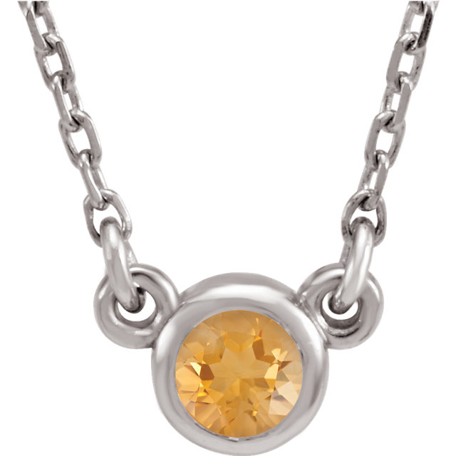 14 Karat White Gold Round Genuine Citrine 16