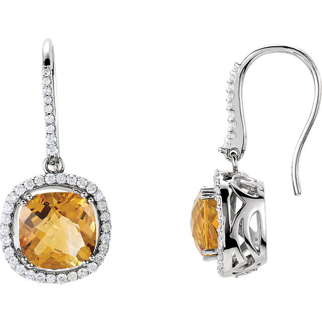 Eye Catchy 14 Karat White Gold Citrine & 0.75 Carat Total Weight Diamond Earrings