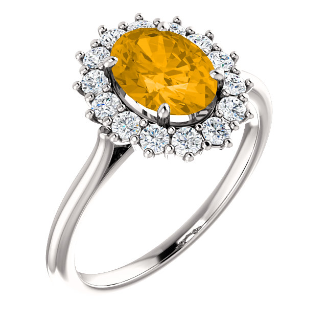 Very Nice 14 Karat White Gold Citrine & 0.40 Carat Total Weight Diamond Ring